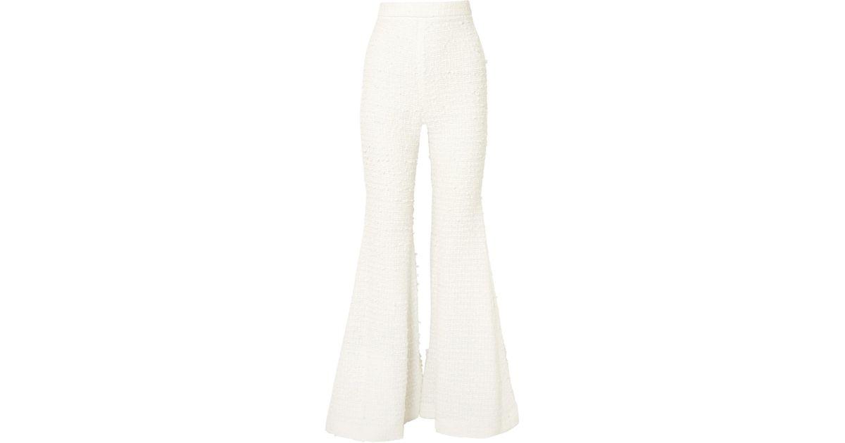 Bouclé Flared Pants - White Balmain ORXSKGH