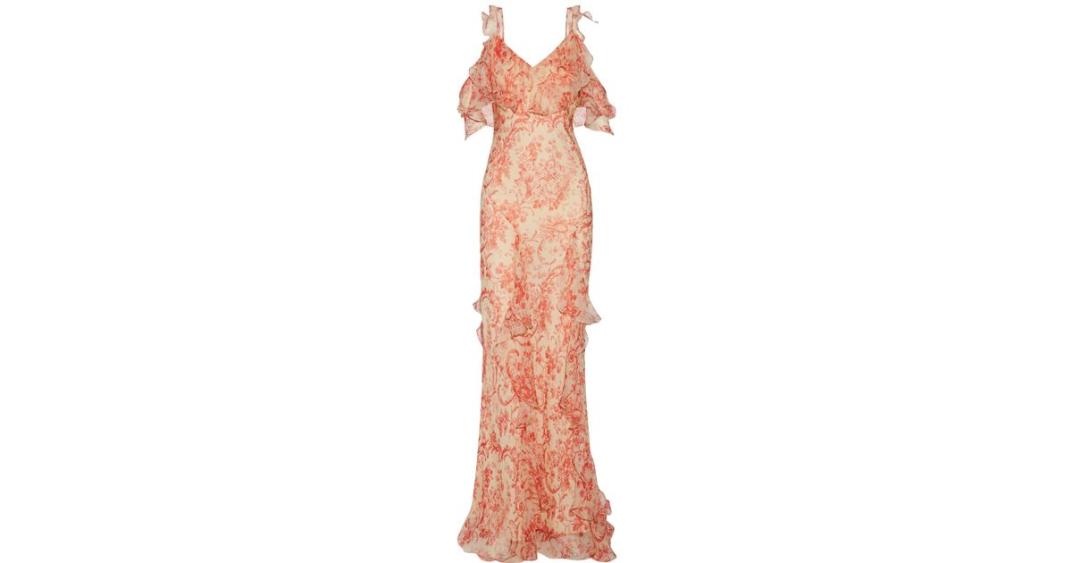 Sale Outlet Vilshenko Woman Ladonna Cold-shoulder Ruffled Printed Silk-georgette Gown Red Size 10 VILSHENKO Buy Cheap Low Price Clearance Online Ebay Buy Cheap Ebay From China Cheap Online 2Ll7BJS