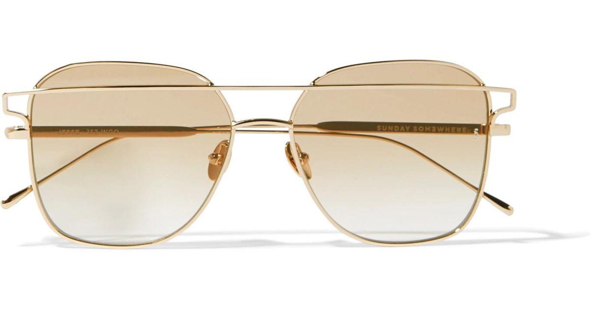 c755276d4c11a Sunday Somewhere Jesse Square-frame Gold-tone Sunglasses in Metallic - Lyst