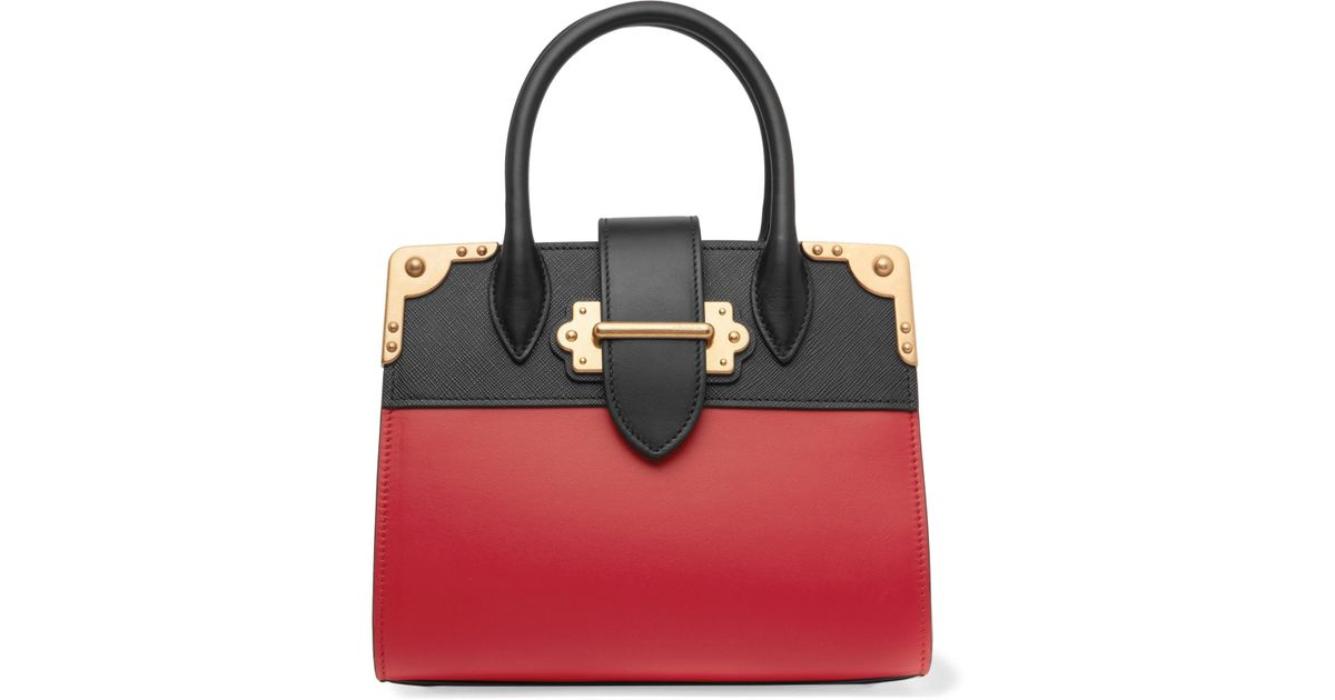 f3c74abefb99 Prada Cahier Small Two-Tone Leather Tote in Red - Lyst