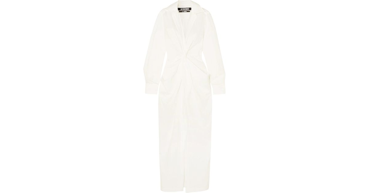Lyst - Jacquemus La Robe Bolso Twist-front Linen And Cotton-blend Midi Dress  in White