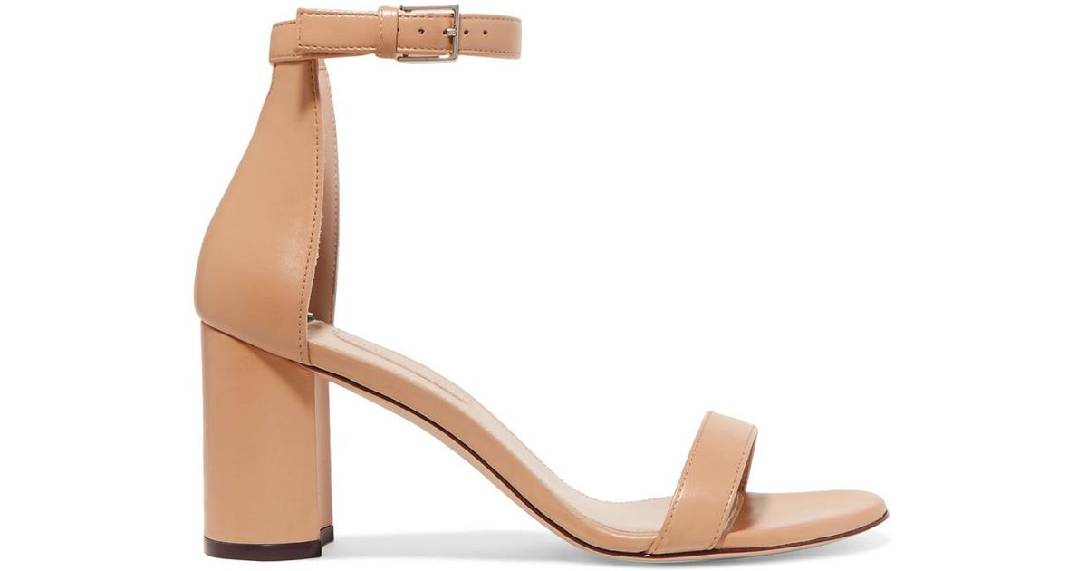 Up To Date Free Shipping Order Stuart Weitzman Lessnudist Leather Sandals - Neutral Cheap Authentic Outlet 2018 New Cheap Online nBSyyAsEOu