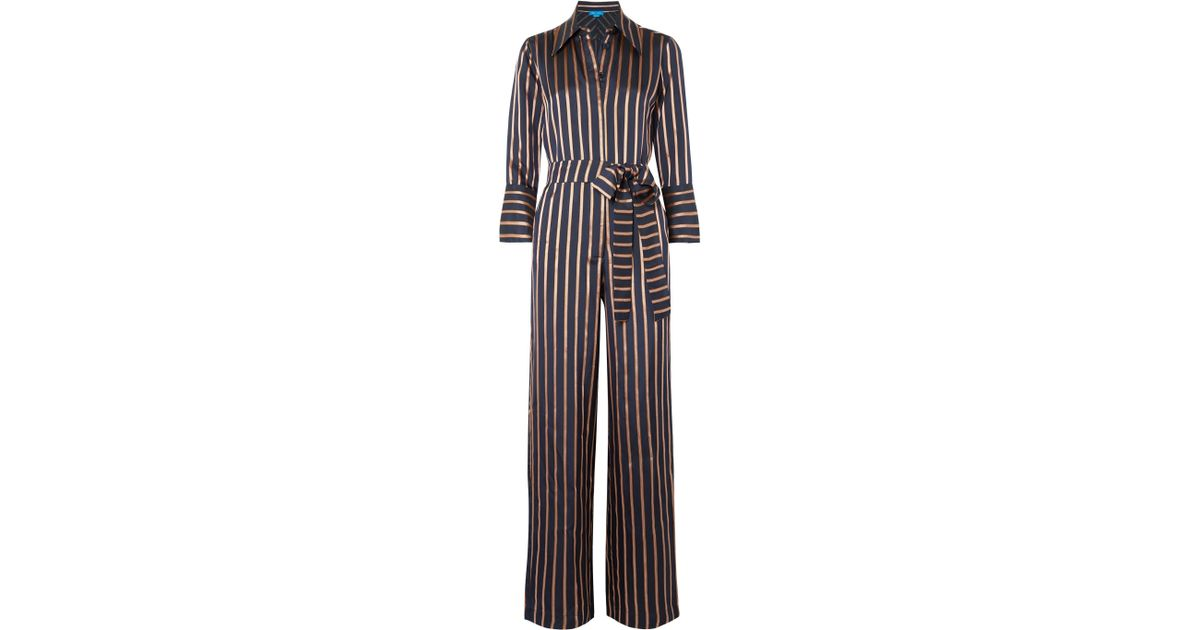 ade950b099dc Lyst - M.i.h Jeans Dexy Belted Striped Jacquard Jumpsuit in Blue