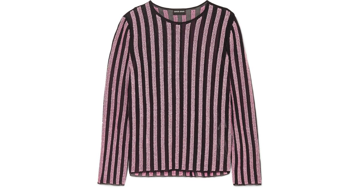 Striped Embellished Tulle Top - Pink Giorgio Armani Many Colors Buy Cheap Best Prices Buy Cheap With Mastercard Sale Big Discount TqjyZMiXV