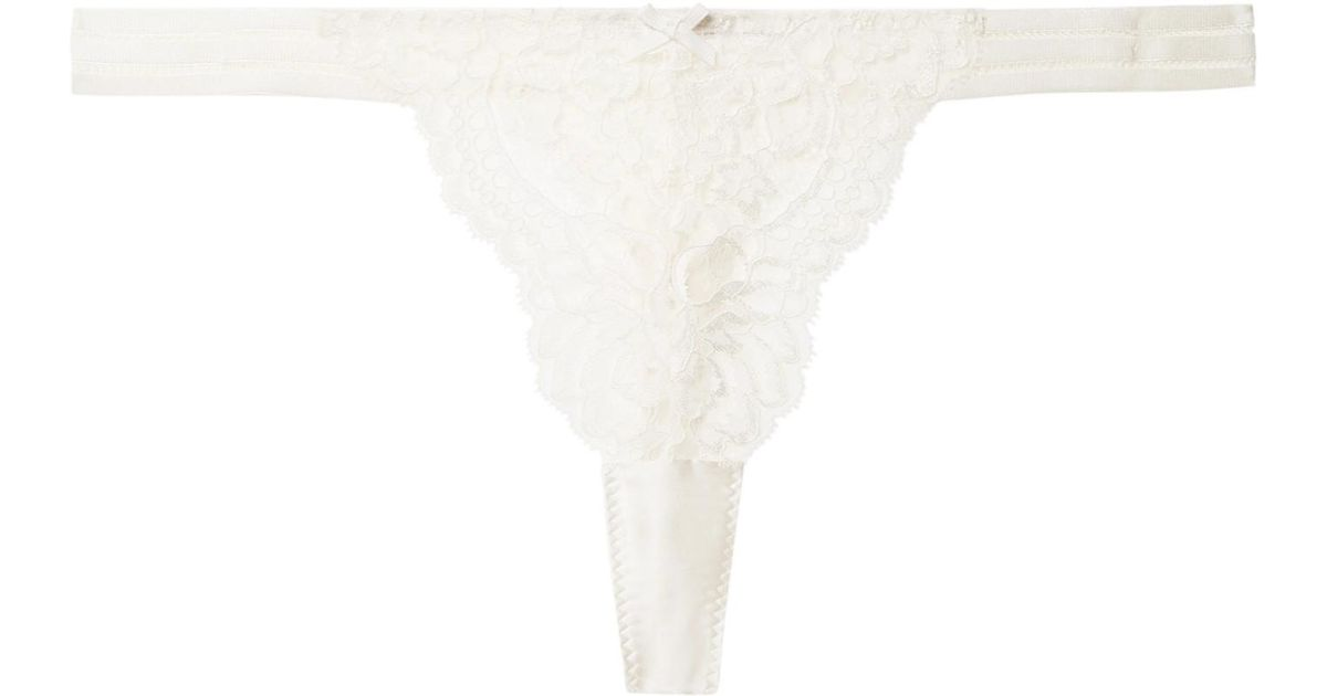 Isabel Floating Corded Leavers Lace, Point Desprit Tulle And Silk-blend Satin Thong - Cream Stella McCartney