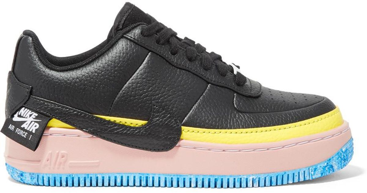 a25d916a30f Lyst - Nike Air Force 1 Jester Xx Color-block Textured-leather Platform  Sneakers in Black