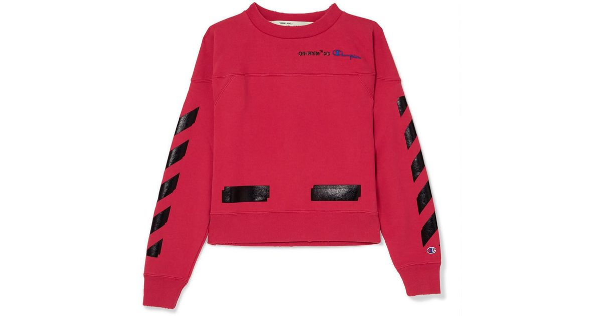 088a6ad49a2f Lyst - Off-White c o Virgil Abloh + Champion Printed Cotton-blend Jersey  Sweatshirt in Red