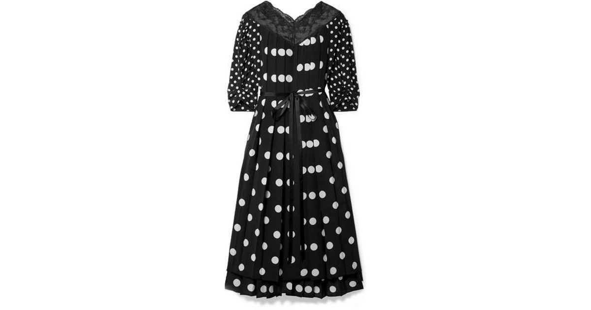 0b988ed8e071 Marc Jacobs Lace-trimmed Pleated Polka-dot Silk Crepe De Chine Midi Dress  in Black - Lyst