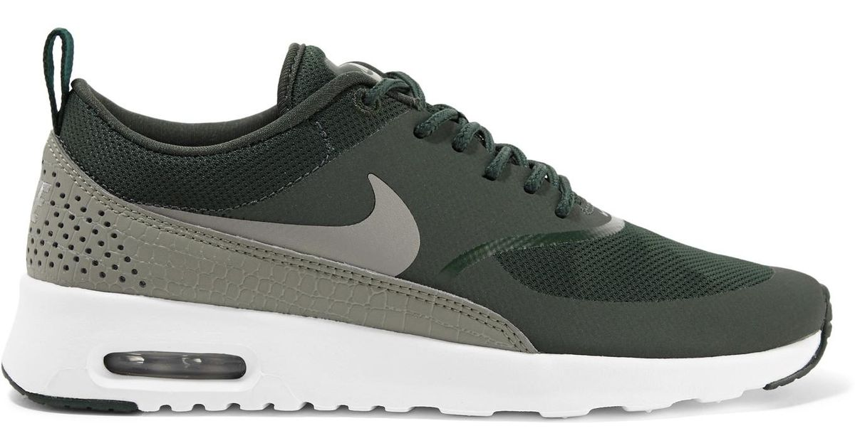 Nike Green Air Max Thea Croc effect Leather trimmed Mesh Sneakers