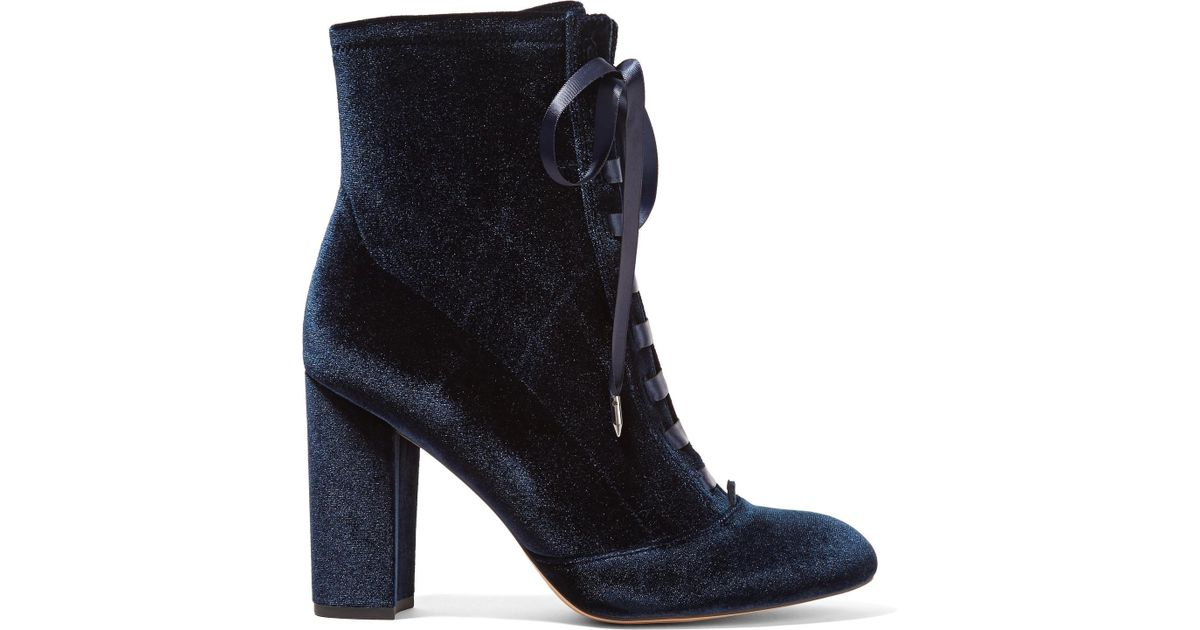 f896da5b7 Sam Edelman Woman Clementine Lace-up Velvet Ankle Boots Navy in Blue - Save  30% - Lyst