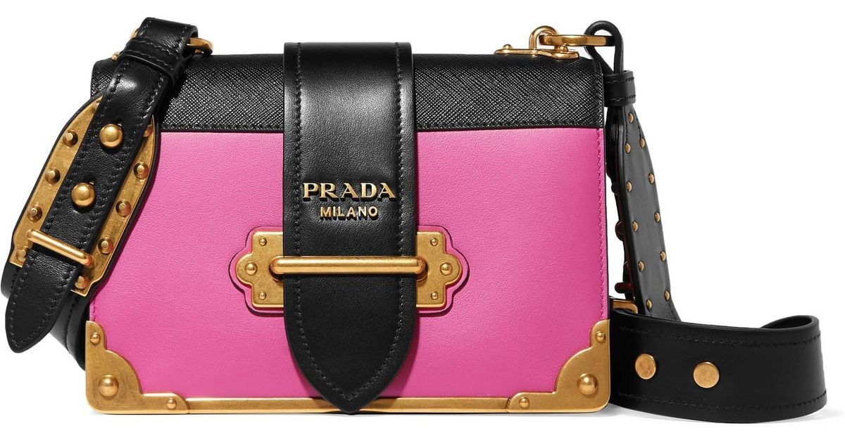 6b81e4cf8342 ... australia lyst prada cahier small two tone leather shoulder bag in pink  a52b3 c4721