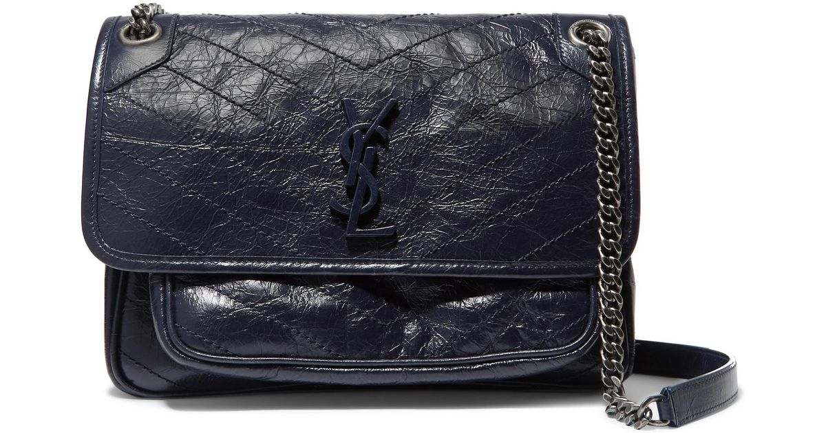 Lyst - Saint Laurent Niki Medium Quilted Crinkled Glossed-leather Shoulder  Bag in Blue bfe4debe4e2d6