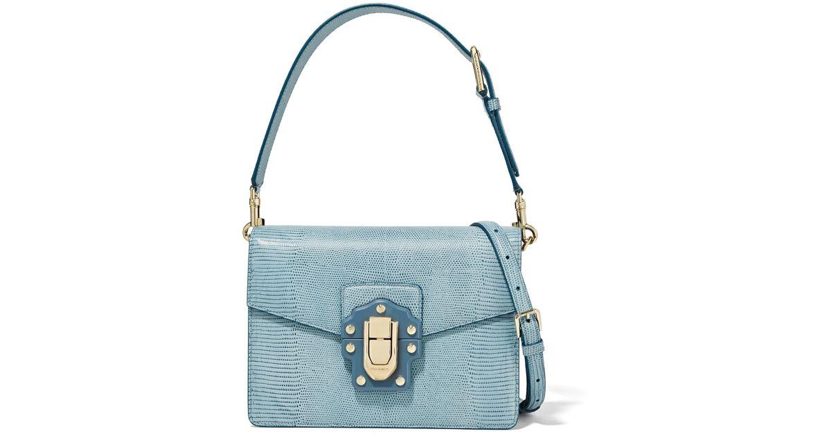 Lyst - Dolce   Gabbana Lucia Lizard-effect Leather Shoulder Bag in Blue 921be180f7