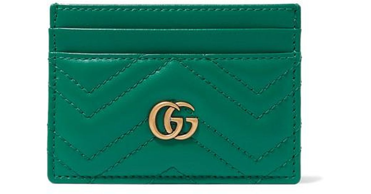1b2c1f7e8cde0 Gucci Green Quilted GG Marmont Card Holder in Green - Lyst