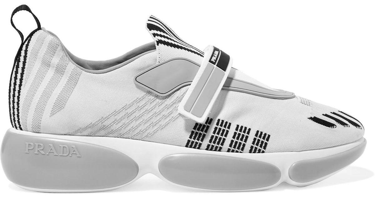 Cloudbust Allacciate Logo-embossed Rubber And Leather-trimmed Mesh Sneakers - Black Prada EDeka
