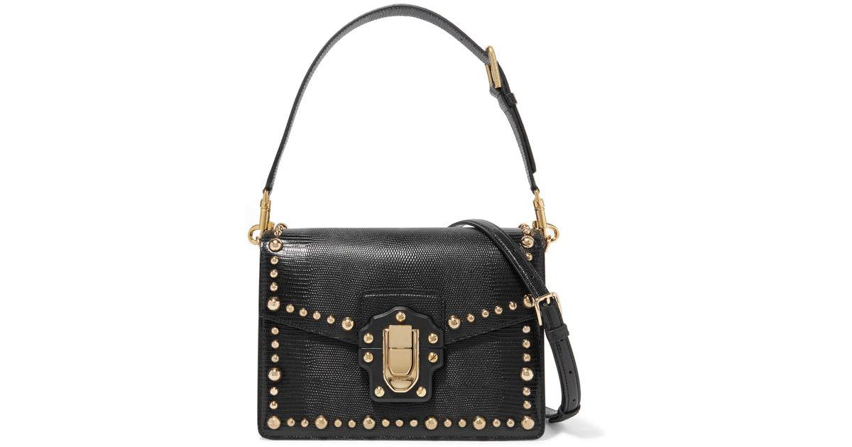 Dolce   Gabbana Lucia Studded Lizard-effect Leather Shoulder Bag in Black -  Lyst 3d15eb828b