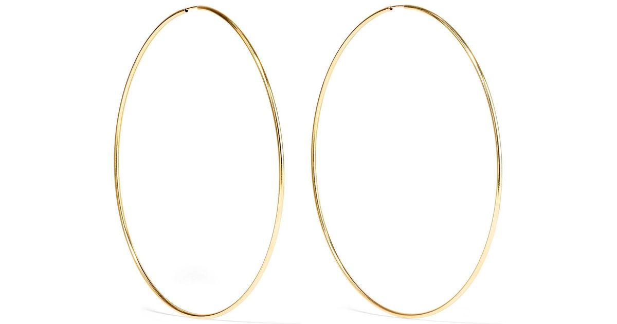 Lyst Loren Infinity 10 Karat Gold Hoop Earrings One Size In Metallic