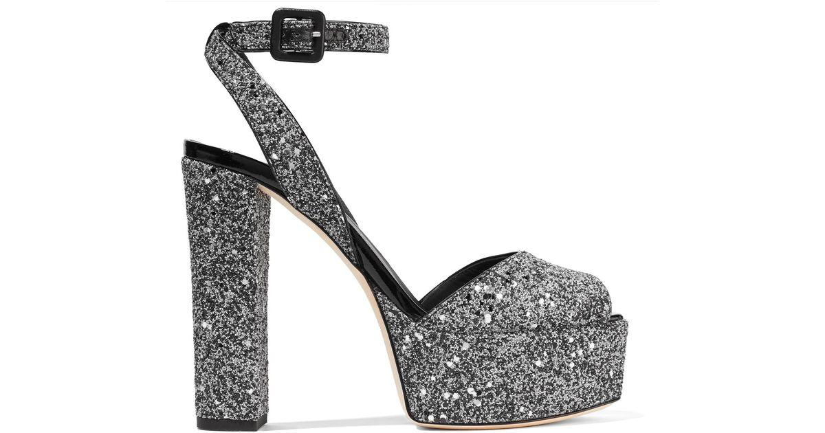 bad452c6950f Lyst - Giuseppe Zanotti Betty Glittered Leather Platform Sandals in Metallic