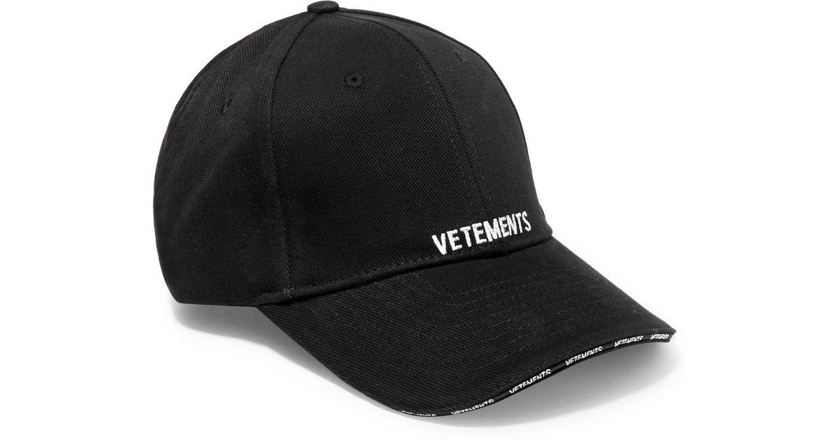 Lyst - Vetements Embroidered Cotton-twill Baseball Cap in Black 595de4a5fb7