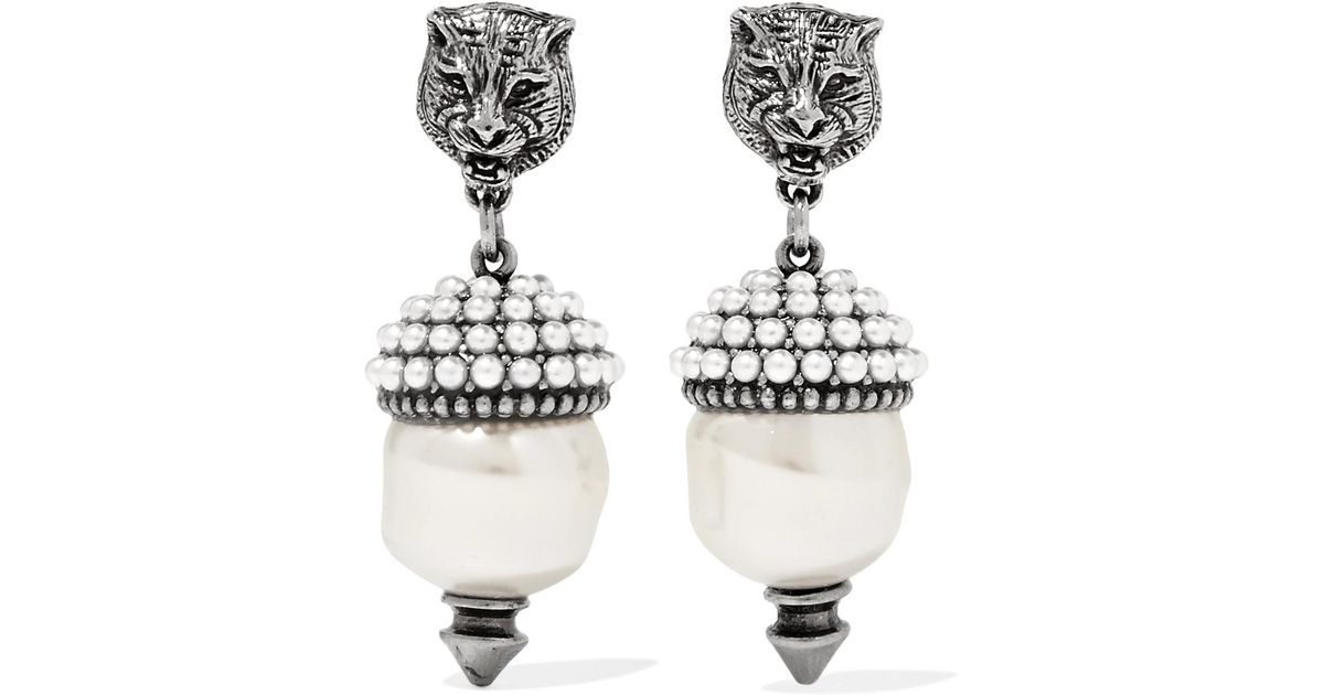 Gucci Silver-tone Faux Pearl Earrings - White FFDsq