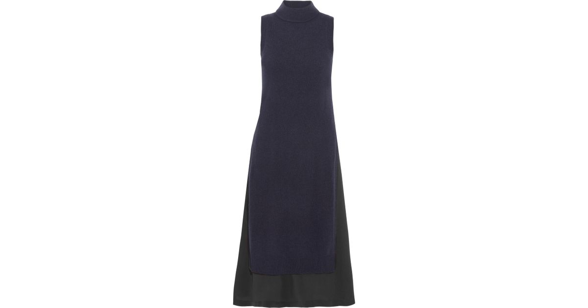 Joy Layered Wool And Cashmere-blend And Silk-crepe Dress - Blue Joseph TVtMagwr