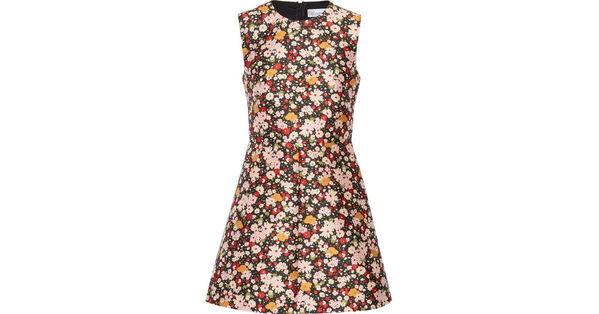 Chelsea Floral-jacquard Mini Dress - Black Red Valentino 6Dx8qot