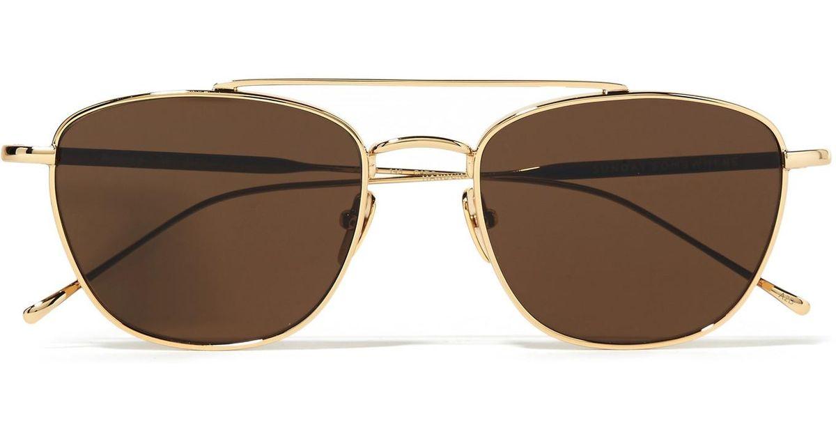 26cbd0fd84268 Lyst - Sunday Somewhere Romeo Aviator-style Gold-tone Sunglasses in Metallic