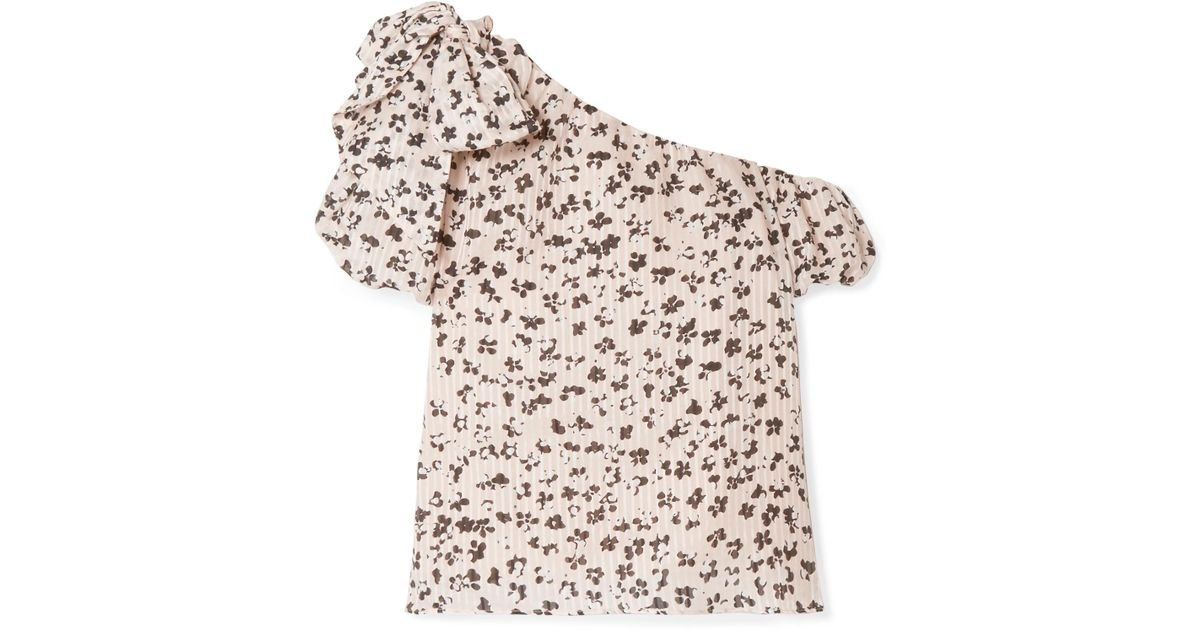 90337e678e774 Lyst - Ulla Johnson Femi One-shoulder Floral-print Cotton And Silk-blend Top