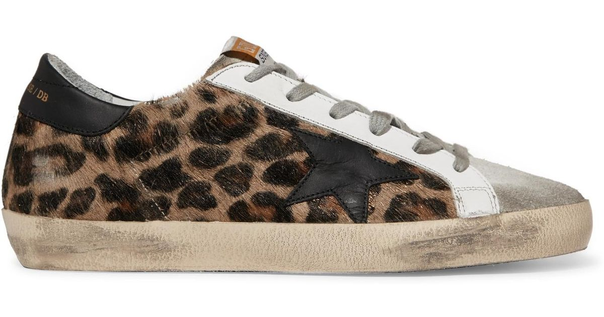 47f602be63b Golden Goose Deluxe Brand Superstar Distressed Leopard-print Calf Hair,  Leather And Suede Sneakers in Brown - Lyst