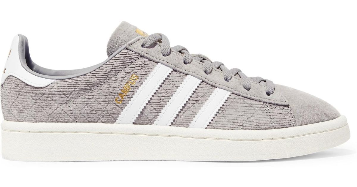 Adidas Originals Campus Quilted Suede Sneakers in Gray - Lyst 884336664