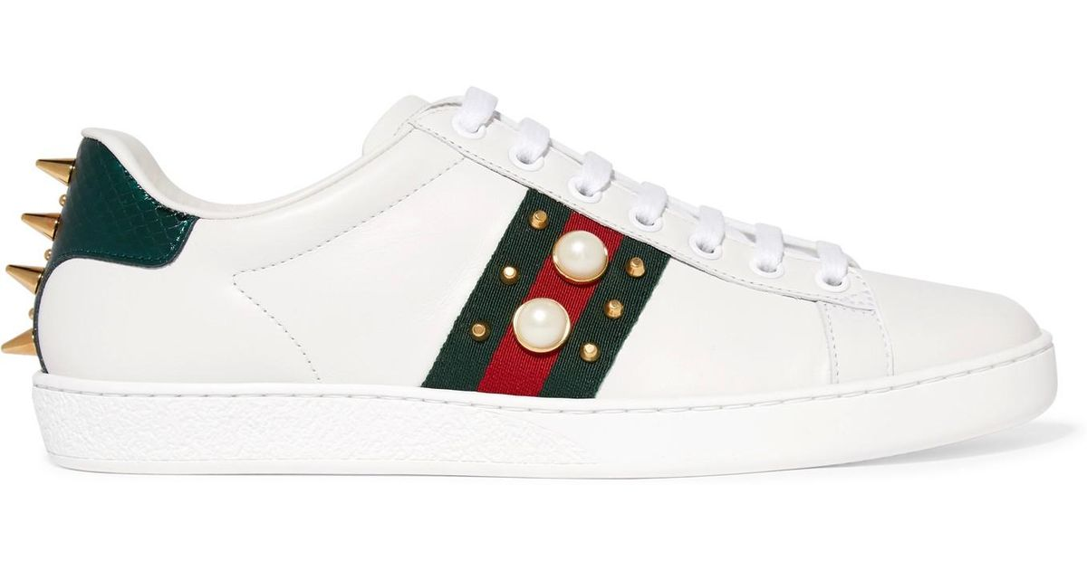 Ace Crystal-embellished Watersnake-trimmed Leather Sneakers - White Gucci Pteun5L