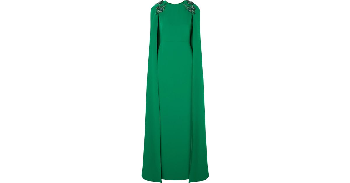 88834e2a5e0 Marchesa notte Cape-effect Embellished Crepe Gown in Green - Lyst
