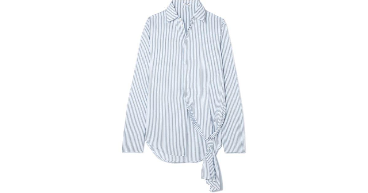 762808a1e91 Lyst - Loewe Asymmetric Striped Silk Shirt in Blue