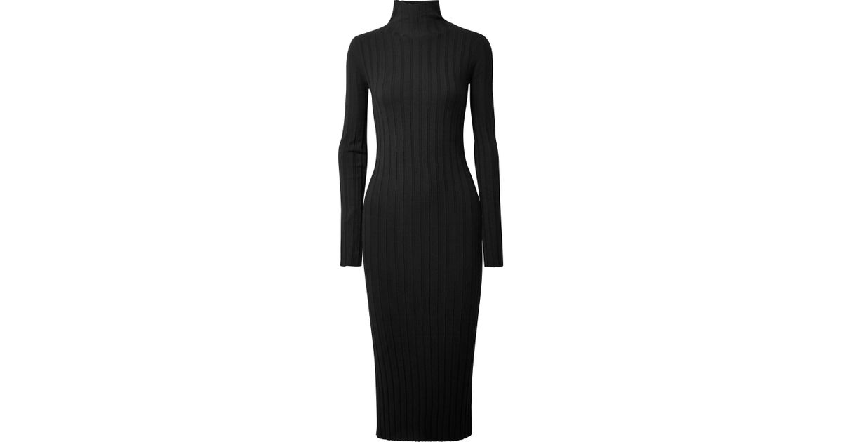 6a81d053f738 Theory Woman Ribbed-knit Turtleneck Midi Dress Black in Black - Save 60% -  Lyst