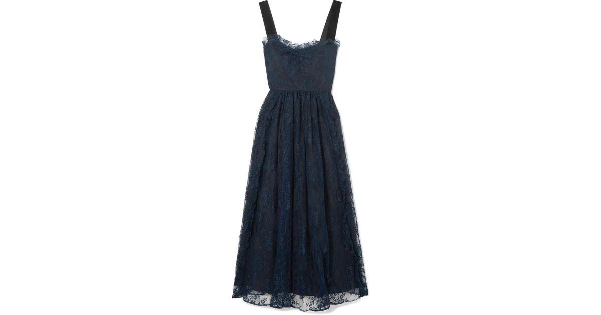 Gathered Velvet-trimmed Chantilly Lace Midi Dress - Midnight blue AlexaChung Oer0dSW