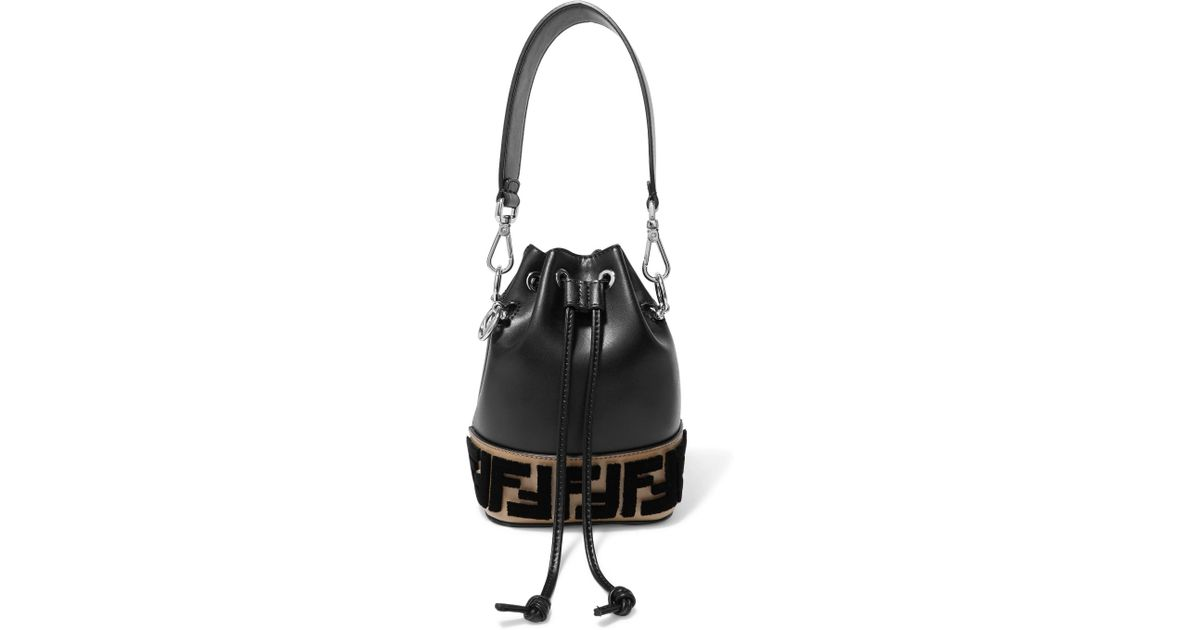998682d18b50f Fendi Montresor Mini Flocked Leather Bucket Bag in Black - Lyst