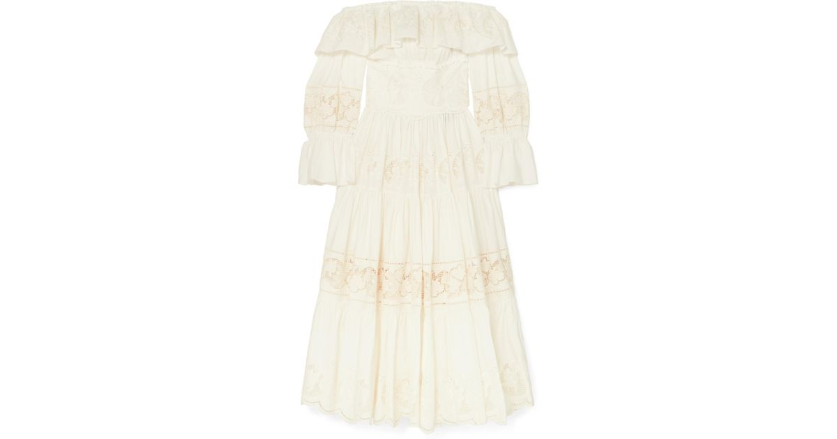 67460c74799ffc Lyst - Dolce   Gabbana Off-the Shoulder Tiered Broderie Anglaise Cotton-blend  Poplin Midi Dress in White