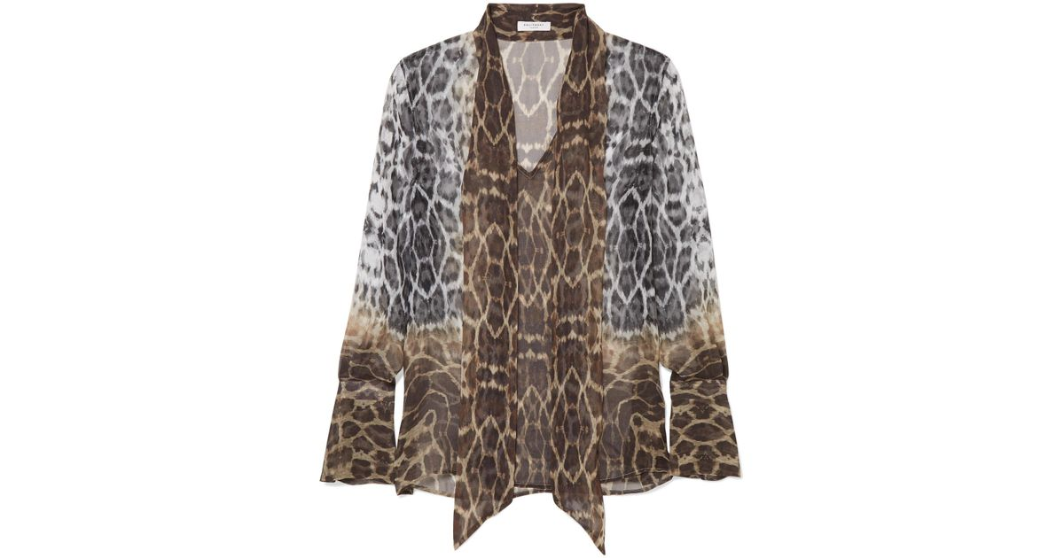 9f2ae8cac813b4 Lyst - Equipment Jacqueleen Pussy-bow Leopard-print Silk-georgette Blouse  in Brown
