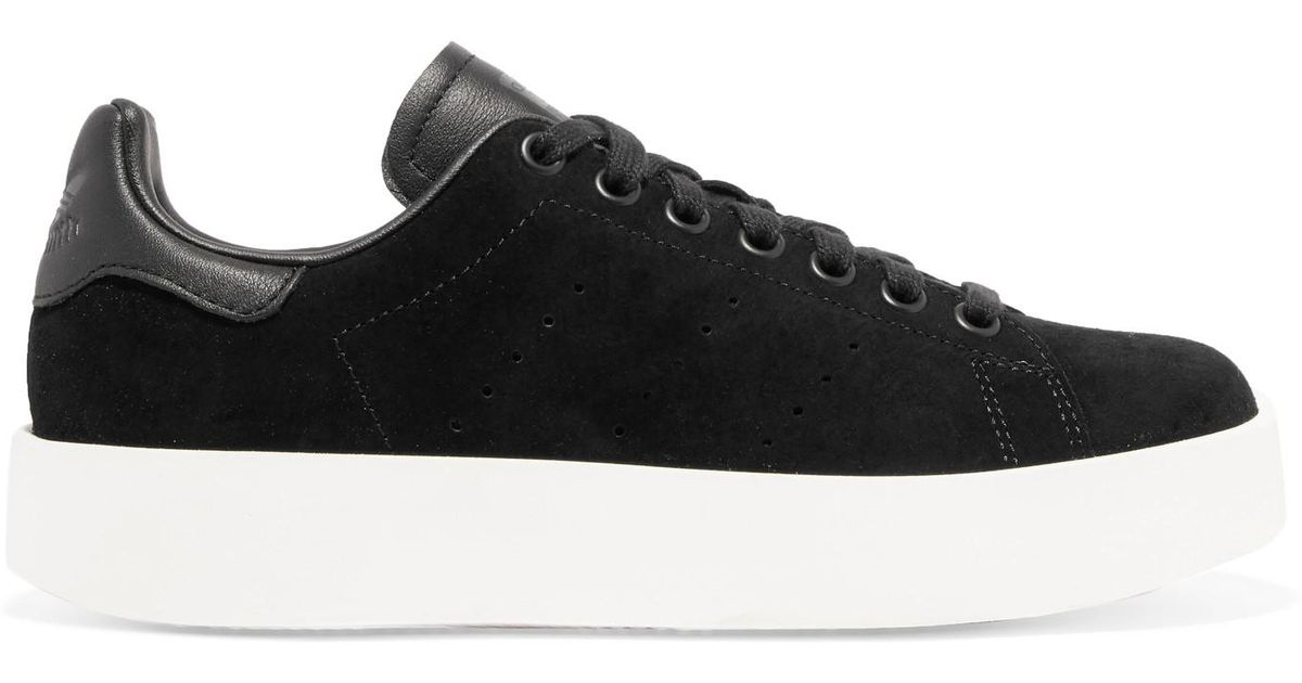 outlet store bc285 9d3ac adidas Originals Stan Smith Bold Leather-trimmed Suede Sneakers in Black -  Lyst