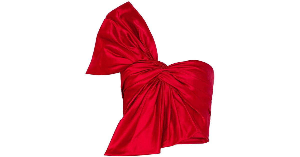 One-shoulder Bow-embellished Silk-satin Bustier Top - Red Reem Acra 2018 New Sale Online Id5UhJ5