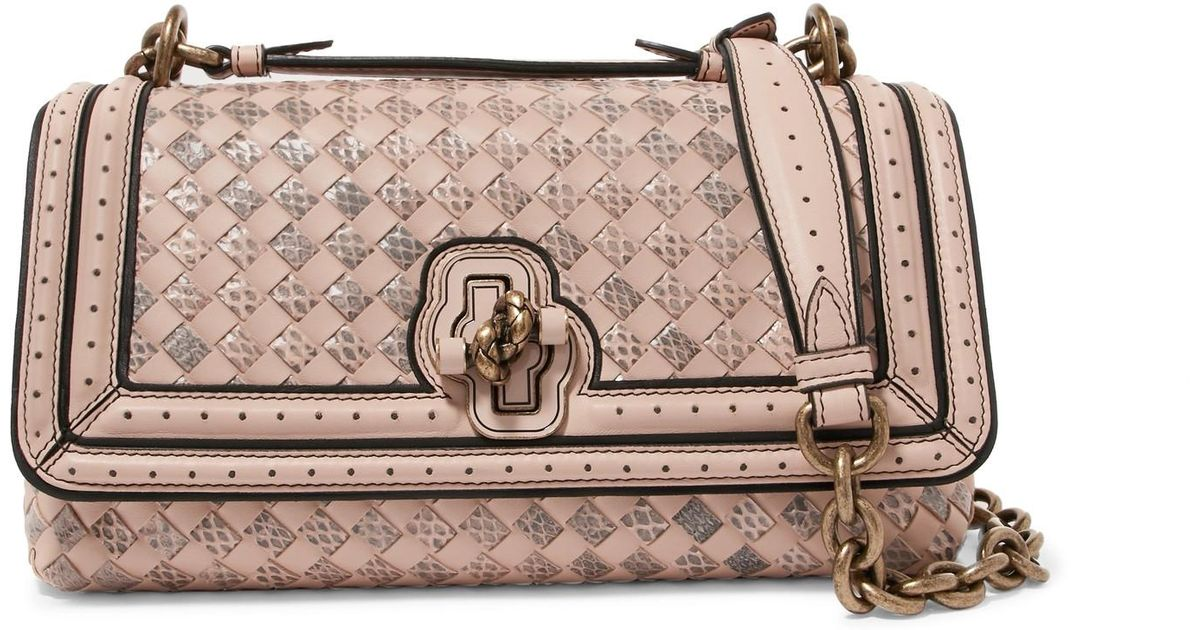 Bottega Veneta City Knot Intrecciato Leather And Watersnake Shoulder Bag in  Pink - Lyst 47cd279d851b3