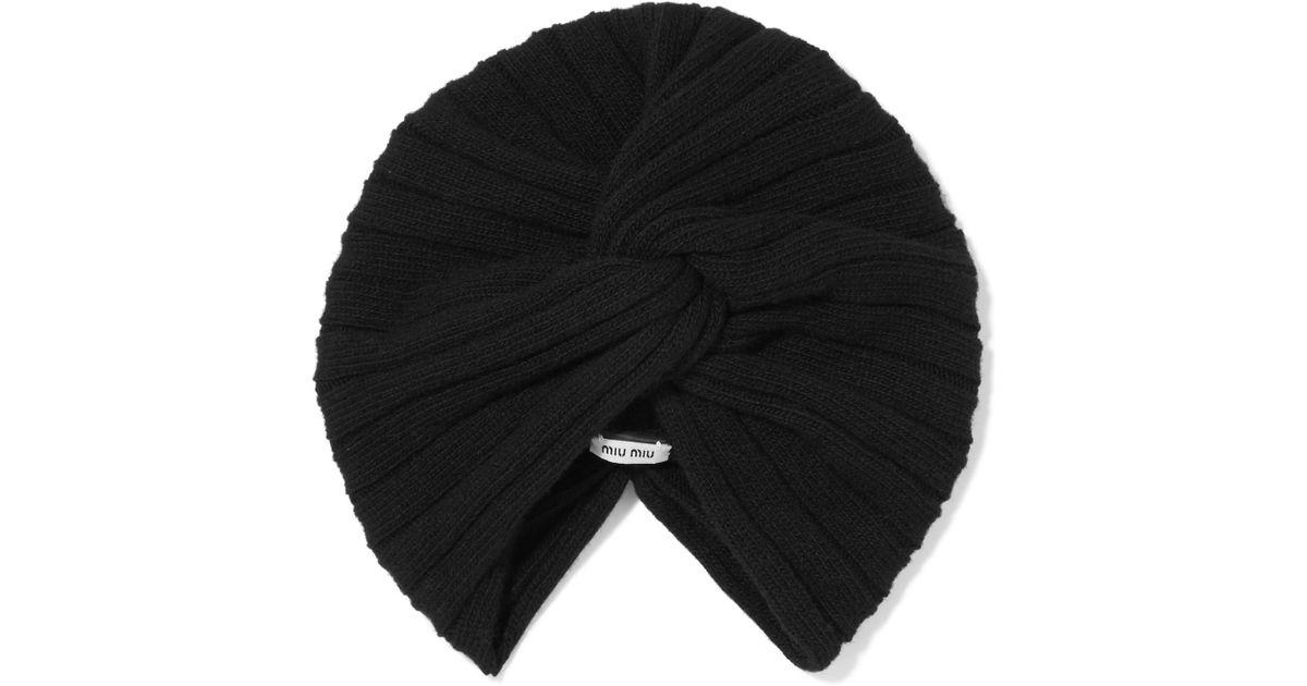 a7444acb08b Lyst - Miu Miu Knotted Wool And Cashmere-blend Turban in Black
