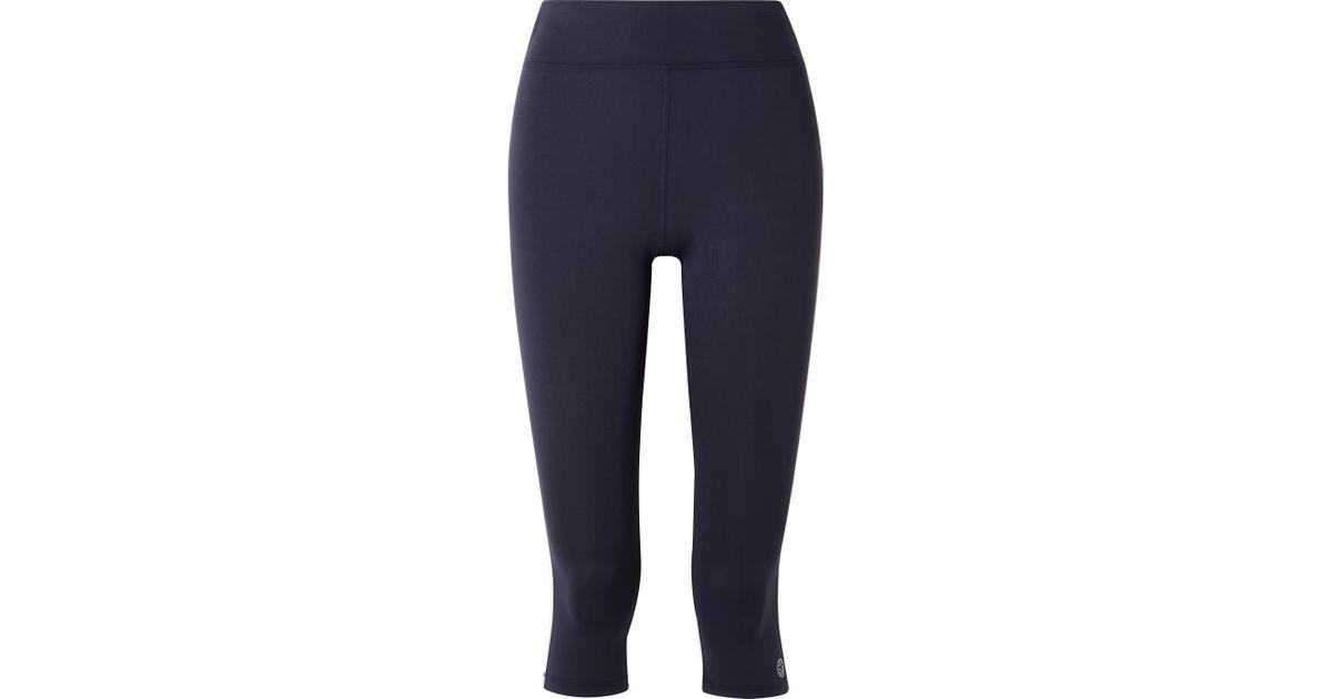 36482c43a8a1a2 Lyst - Tory Sport Cropped Striped Stretch-tactel Leggings in Blue