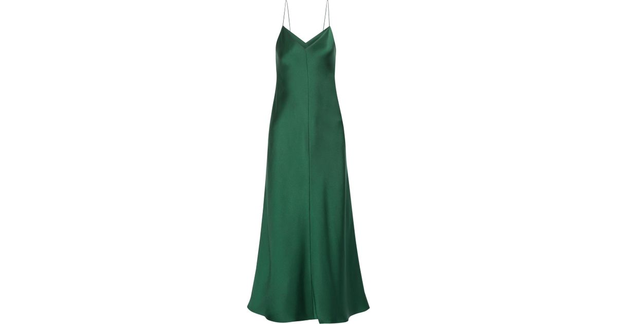 Lyst - The Row Guinevere Silk-satin Maxi Dress in Green