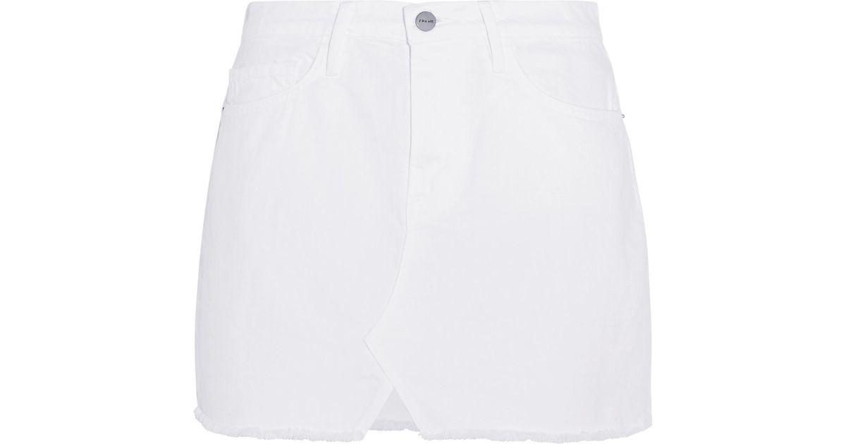 059a7cdc8 FRAME Le Mini Frayed Denim Mini Skirt in White - Lyst