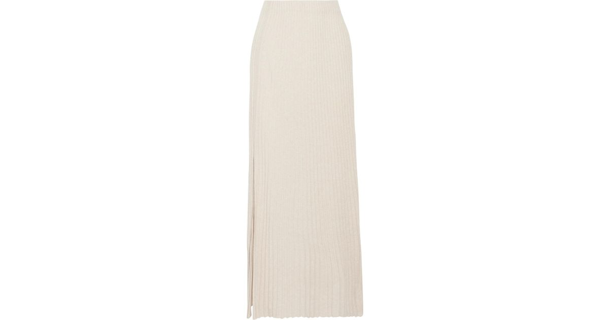 ad1e30b9e5 Elizabeth and James Joelle Ribbed Stretch-knit Maxi Skirt in Natural - Lyst