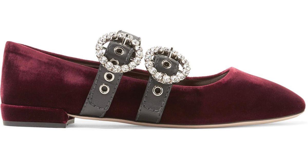 0f5f4934066 Lyst - Miu Miu Crystal-embellished Leather-trimmed Velvet Ballet Flats