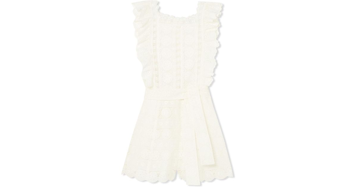 0a9dcdcab0 Lyst - Zimmermann Kali Daisy Broderie Anglaise Cotton And Lace Playsuit in  White