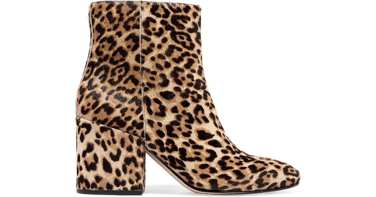 30058d79e96d42 Lyst - Sam Edelman Taye Leopard-print Calf Hair Ankle Boots in Brown