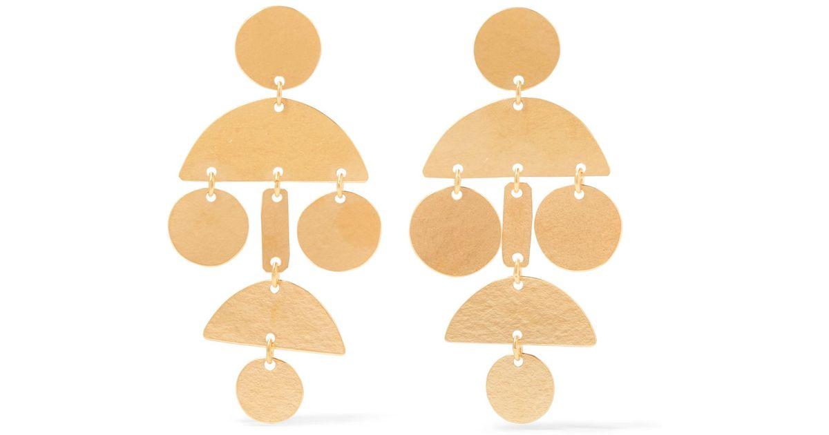Mini Popova Gold-Tone Earrings Annie Costello Brown UU4PY